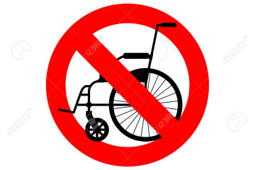 Stop wheelchair. Prohibited disability. Ban for people with disabilities. Red forbidding character.